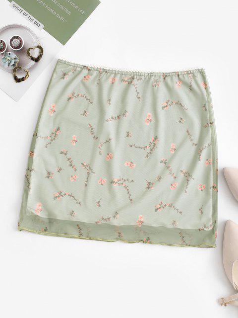 unique Peach Blossom Print Mesh Overlay Picot-trim Mini Skirt - GREEN M Mobile