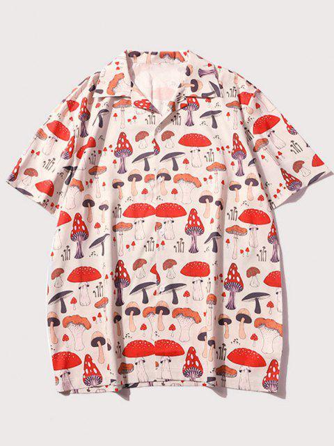 buy Mushroom Allover Print Short Sleeve Shirt - APRICOT M Mobile