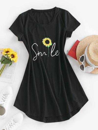 ZAFUL Sunflower Print Curved Hem T Shirt Dress - Black S