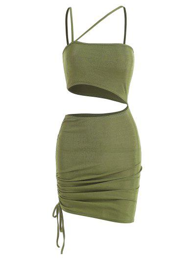 Cutout Cinched One Shoulder Bodycon Dress - Light Green M
