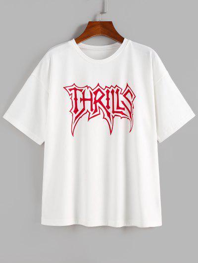 ZAFUL Thrills Graphic Drop Shoulder T Shirt - White S