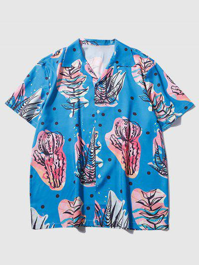 Plant Print Short Sleeve Shirt - Ocean Blue M