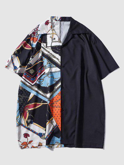 Half And Half Bandana Chain Print Shirt - Black M