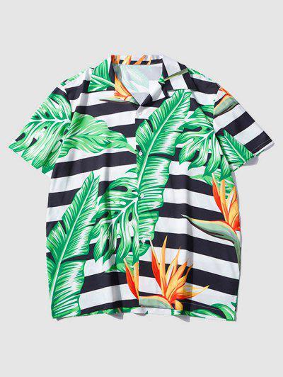 Tropical Leaf Contrasting Stripe Short Sleeve Shirt - Light Sea Green M