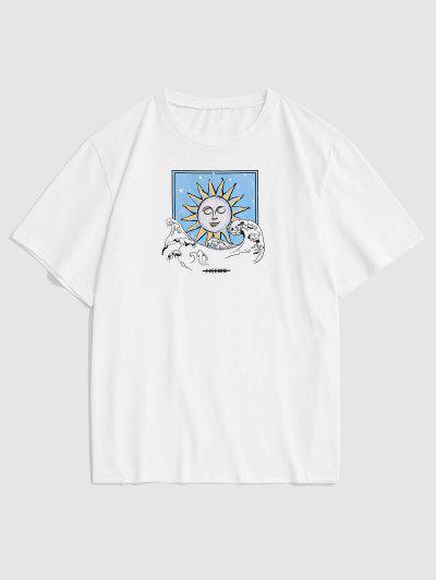 Celestial Sun Sea Waves Basic T-shirt - White L