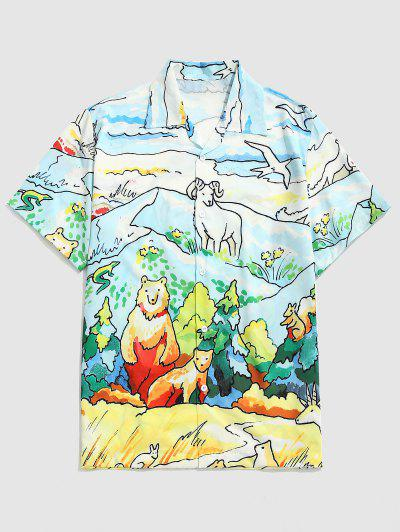 Cartoon Animal Landscape Print Casual Short Sleeve Shirt - Cornflower Blue M
