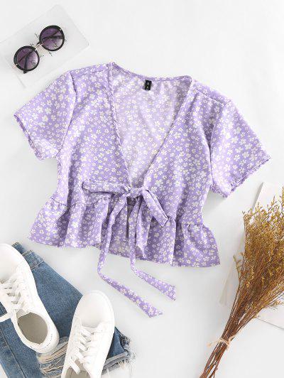 ZAFUL Ditsy Floral Plunge Tie Peplum Blouse - Light Purple M