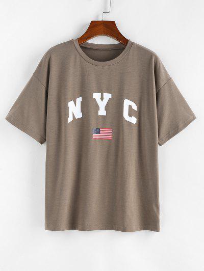 ZAFUL NYC Patriotic American Flag Drop Shoulder T Shirt - Light Coffee S