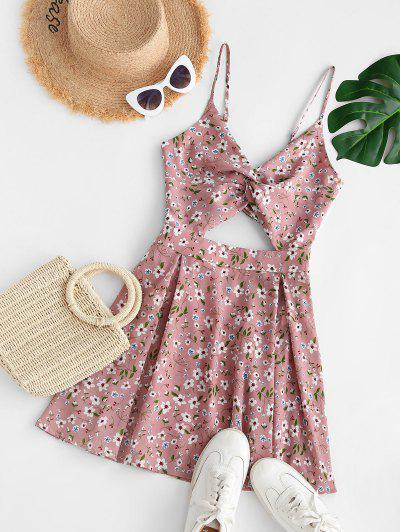 Flower Print Twisted Bowknot Back Cutout Dress - Light Pink Xl