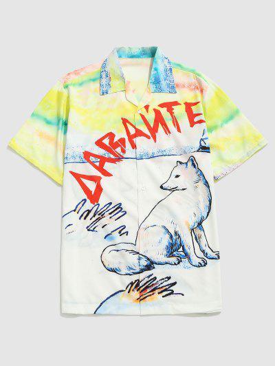 Watercolor Wolf Print Casual Short Sleeve Shirt - Sun Yellow M