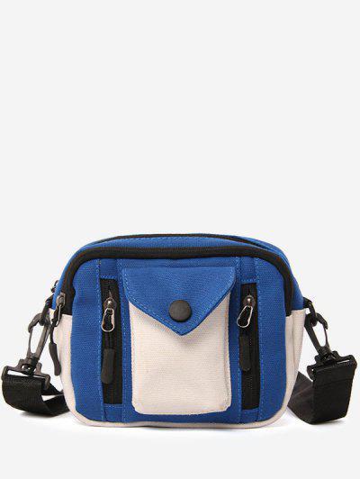 Canvas Pocket Versatile Casual Crossbody Bag - Blue