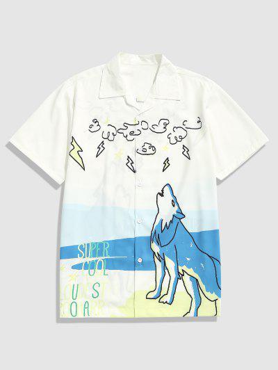 Roaring Wolf Print Casual Short Sleeve Shirt - White L