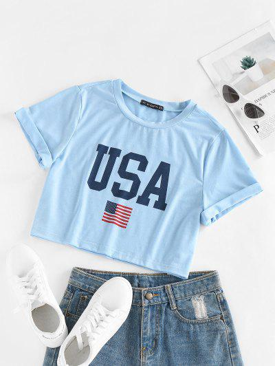 ZAFUL Patriotic American Flag USA Graphic Crop T-shirt - Light Blue M