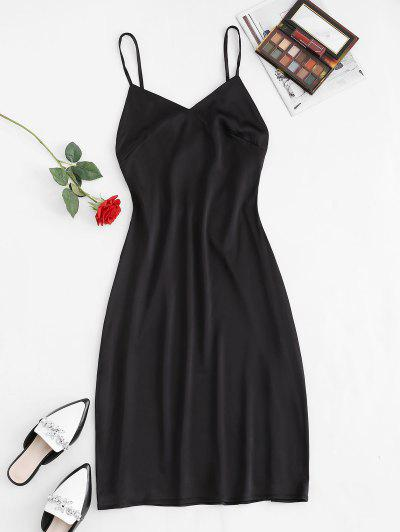 Cutout Backless Midi Slip Dress - Black L