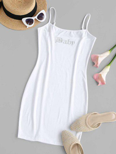 Mini Robe Moulante à Bretelle Avec Strass - Blanc L