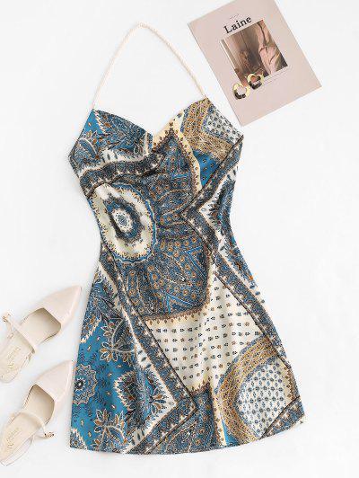 Bohemian Faux Pearl Halter Cowl Front Dress - Deep Blue M
