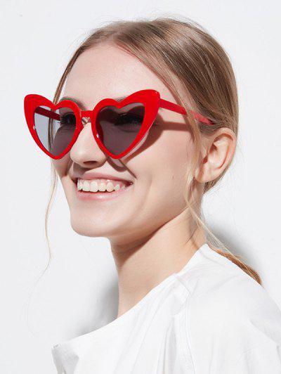 Heart Shape Travel Sunglasses - Red