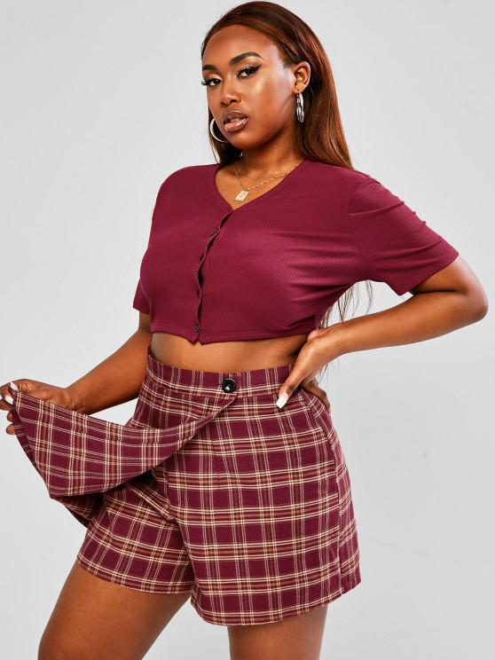lady ZAFUL Plus Size Button Up Ribbed Plaid Skorts Set - DEEP RED L