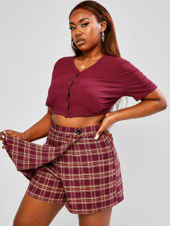 ZAFUL Plus Size Button Up Ribbed Plaid Skorts Set - Deep Red 2xl