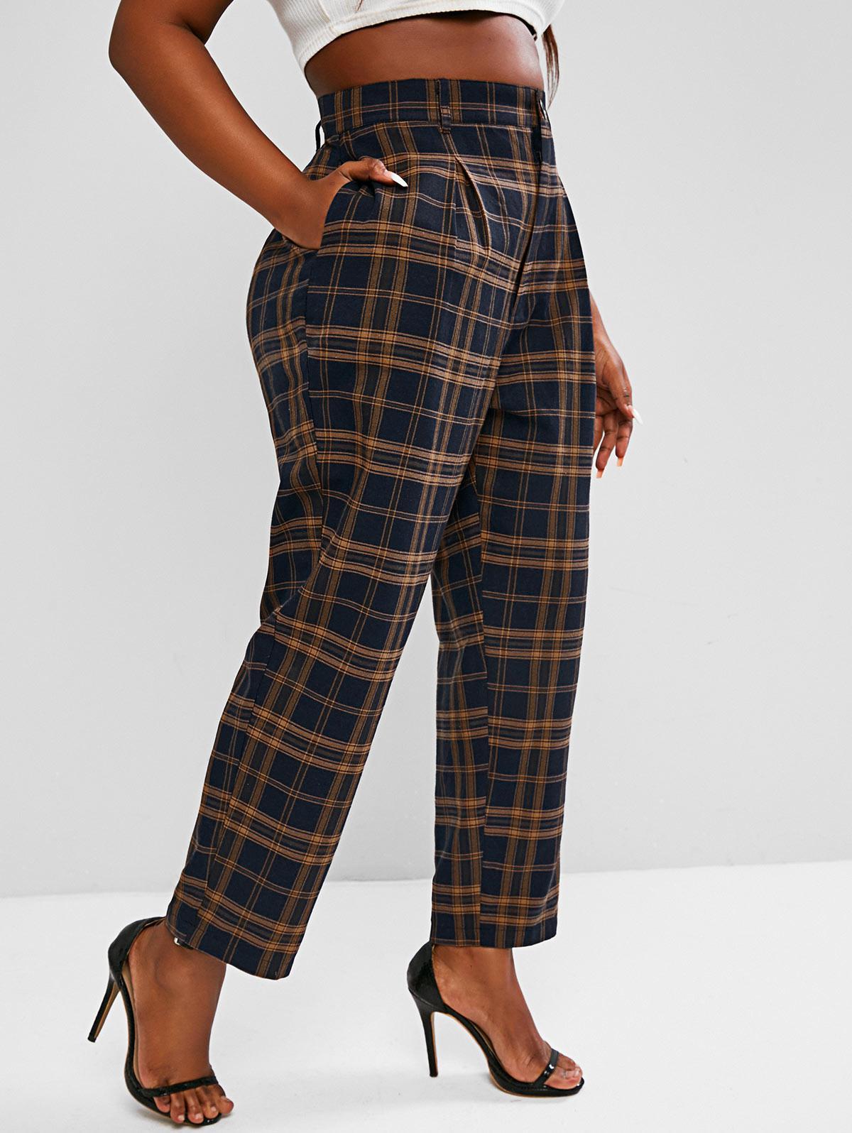 ZAFUL Plus Size High Waisted Plaid Print Tapered Pants