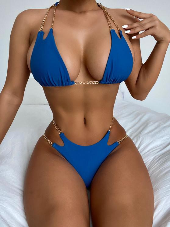 sale ZAFUL Halter Metallic Chains Tanga Bikini Swimwear - BLUE S