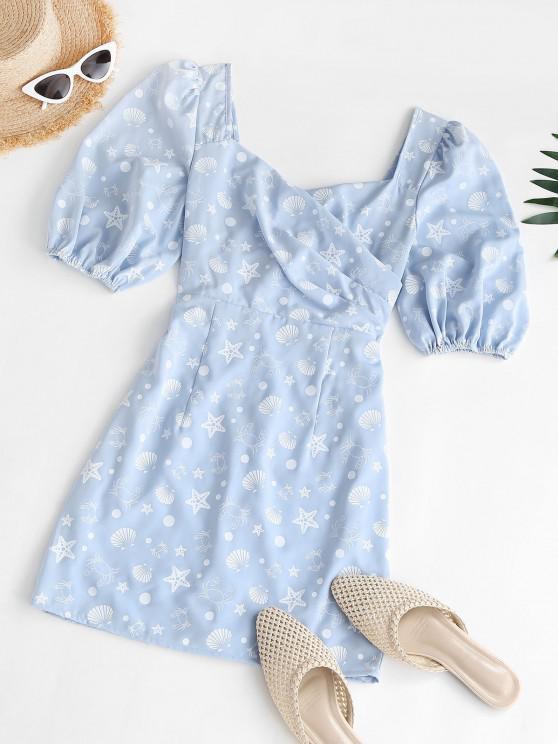 lady Marine Print Puff Sleeve Surplice Dress - LIGHT BLUE XS