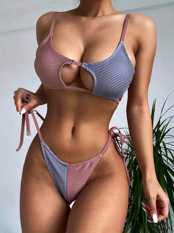 ZAFUL Colorblock Ribbed Cutout String Bikini Swimwear - البني الفاتح M
