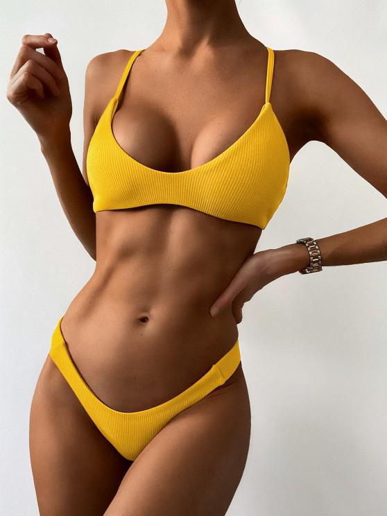 fancy High Leg Ribbed Bikini Set - GOLDEN BROWN S