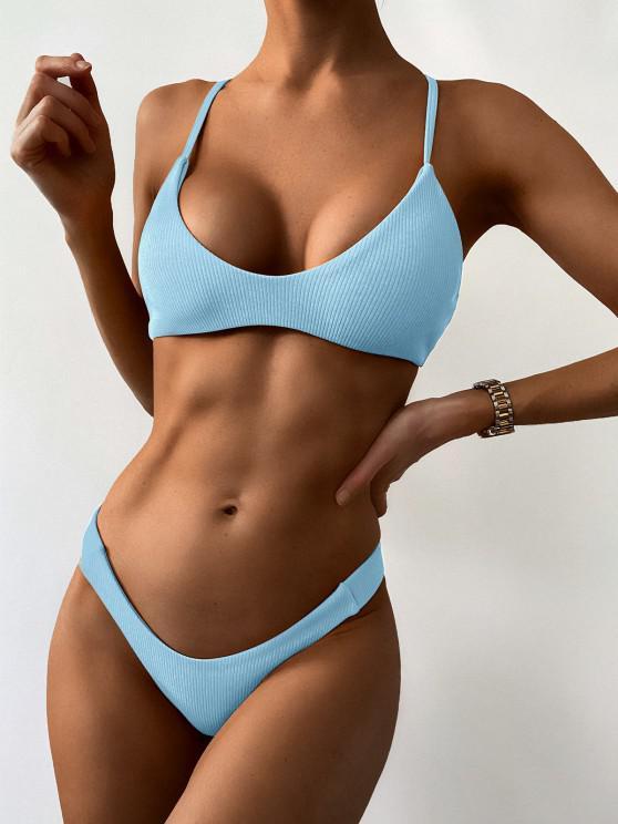 hot High Leg Ribbed Bikini Set - LIGHT SKY BLUE L