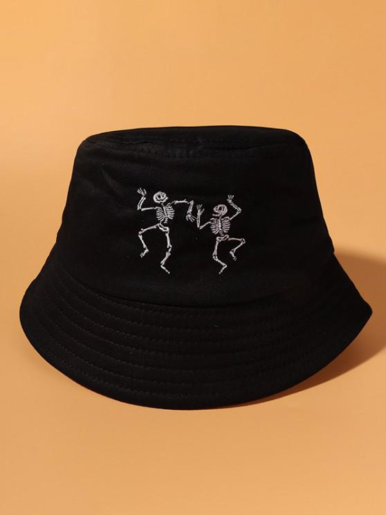 Skeleton Embroidered Cotton Casual Bucket Hat - أسود