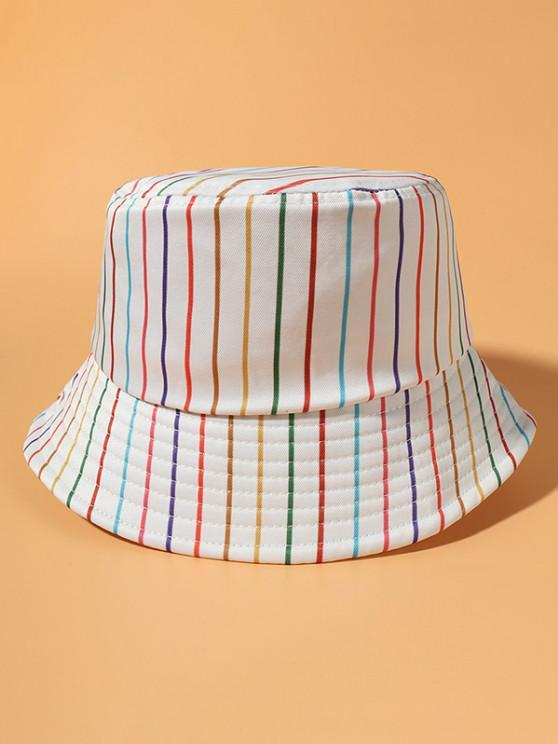Chapéu de Balde Colorido de Impressão de Listra Casual - Bege