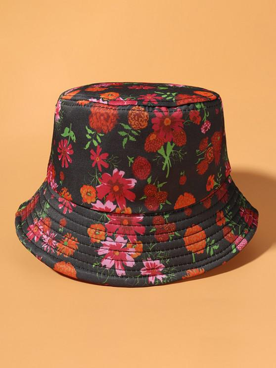 Chapéu de Balde com Padrão Floral - Exército verde