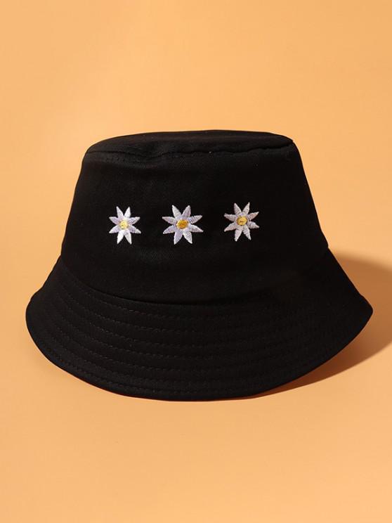 Lässiges Bucket Hut mit Blumenstickerei - Schwarz