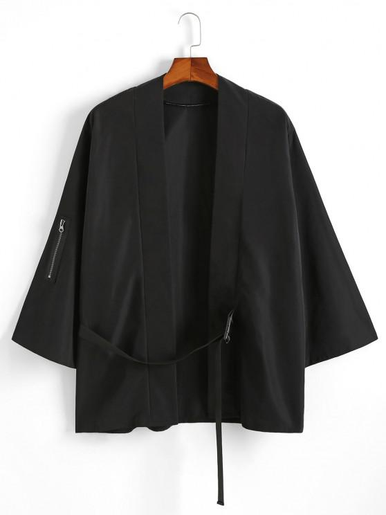 outfits Note Print Buckle Strap Kimono Cardigan - BLACK S
