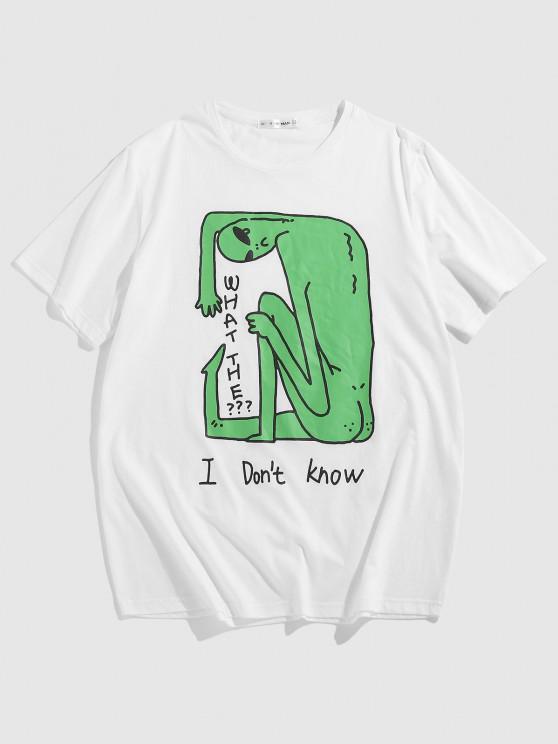 ZAFUL ET Letters Print Funny T-shirt - أبيض XXL