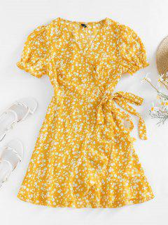 ZAFUL Ditsy Print Puff Sleeve Ruffle Belted Dress - Yellow M
