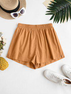 ZAFUL Back Pockets Spilt Side Basic Shorts - Coffee M
