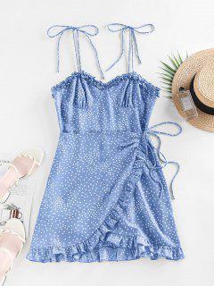 ZAFUL Polka Dot Ruffle Tie Shoulder Overlap Dress - Blue S