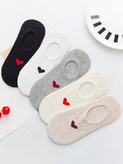 5 Pairs Heart Non-Slip No-Show Socks - Multi-a