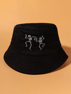 Cappello Da Pescatore Casuale In Cotone Ricamato Scheletro - Nero