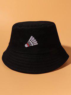 Cappello Da Pescatore Casuale In Cotone Ricamato - Nero