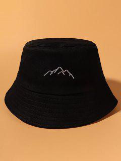 Hill Embroidered Cotton Casual Bucket Hat - Black