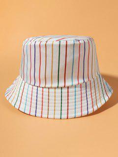 Colorful Stripe Print Casual Bucket Hat - Beige