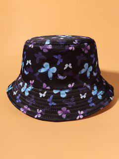 Allover Butterfly Print Casual Bucket Hat - Black