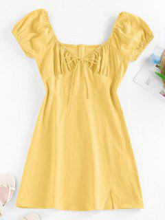 ZAFUL Bowknot Puff Sleeve Slit Mini Dress - Yellow Xl