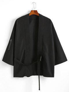 Cardigan Kimono Note De Musique Imprimé à Bretelle Bouclée - Noir Xl