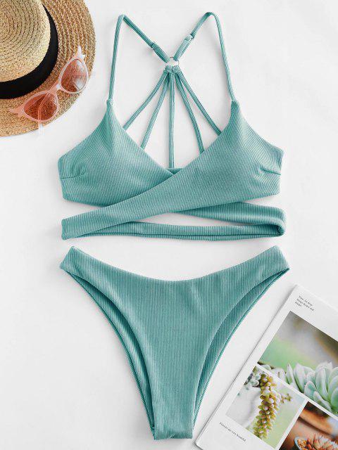 fashion ZAFUL Ribbed Strappy Wrap Bikini Swimsuit - SEA TURTLE GREEN M Mobile