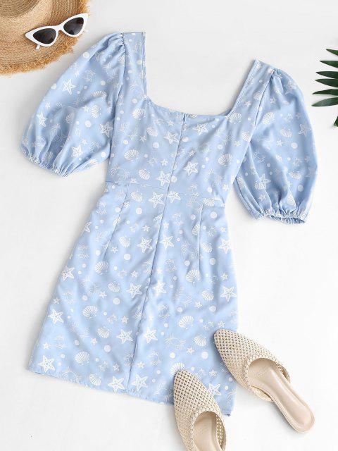 lady Marine Print Puff Sleeve Surplice Dress - LIGHT BLUE XS Mobile