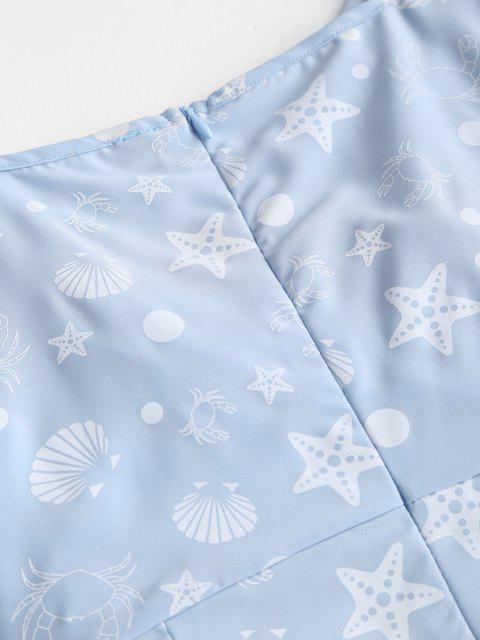 online Marine Print Puff Sleeve Surplice Dress - LIGHT BLUE S Mobile