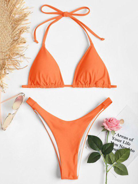 Bikini de Corte Alto y Pliegues Halter - Naranja Oscuro S Mobile